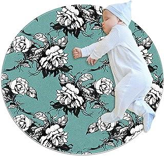 Svartvit blommig, barn rund matta polyester överkast matta mjuk pedagogisk tvättbar matta barnkammare tipi tält lekmatta