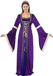 Renaissance Costume Halloween Cosplay Women Princess Medieval Dress with Royal Queen Tiara Crown