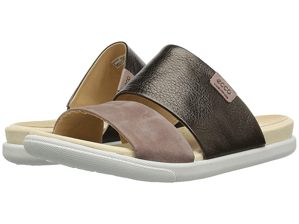 ECCO Damara Slide Sandal II (Licorice/Deep Taupe Cow Leather/Nubuck) Women