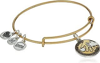 Alex and Ani Women's Hand in Hand II, Two Tone EWB Bangle Bracelet, Rafaelian Gold, Expandable