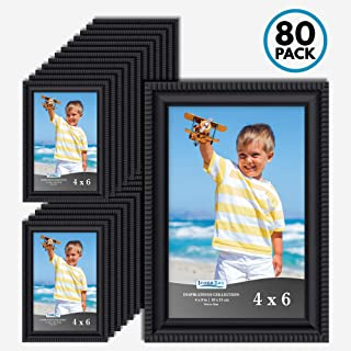 Icona Bay 4x6 Picture Frames (80 Pack, Black) Picture Frame Set, Wall Mount or Table Top, Set of 80 Inspirations Collection