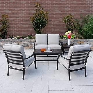 Lakeview Outdoor Designs Du Monde 5 Piece Cast Aluminum Patio Conversation Set W/Sunbrella Cast Silver Cushions