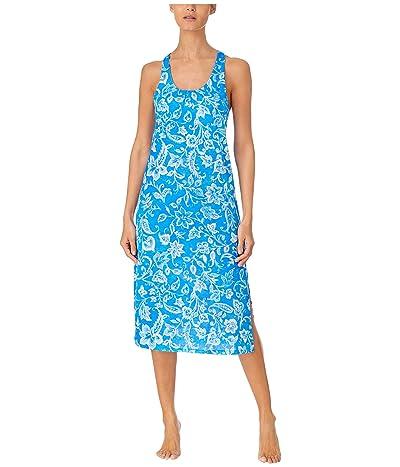 LAUREN Ralph Lauren Plus Size Slub Jersey Knit Sleeveless Twisted Back Ballet Gown with Soft Bra (Blue Floral) Women