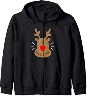 Rudolph Reindeer Ugly Christmas Party Gift I Love Rudolph Zip Hoodie