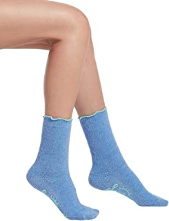 Women's Quilted Ultra Soft Crew Slipper Sleep Sock with Grippers