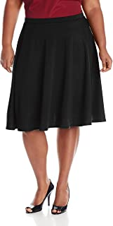 plus size black knee length skirt