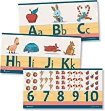 Alphabet and numbers classroom Wall Line for teaching ABCs cartoons Young N Refined (Glossy Paper)