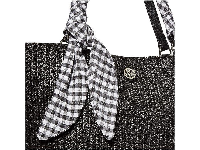 Anne Klein Straw Tote W/ Ginham Scarf & Detachable Wristlet - Brand Bags