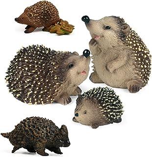 UANDME 5pcs Hedgehog Figurine Erinaceinae Figures Woodland Creature Toy Playset Miniature Figurines Fairy Garden Animals C...