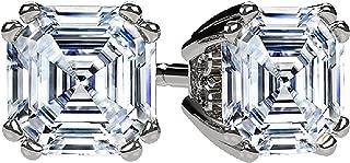 NANA .75-4.0ctw Swarovski Zirconia Asscher Cut CZ Stud Earrings Sterling Silver & Solid 14k Gold Hypoallergenic Posts