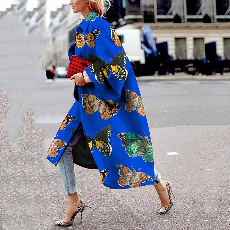 Damen Strickjacke Mantel Langer Trenchcoat, KIMODO Bedruckte Tasche Freizeitjacke Oberbekleidung Lange Flare Ärmel Jacke Bedruckte Loose Windbreaker Dunkelblau