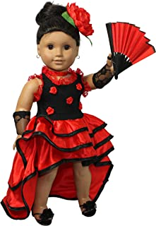 Flamenco red dress 4pcs. 18 inch doll clothes/fits American girl doll