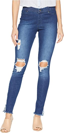 Ripped Ankle Slit Denim Leggings