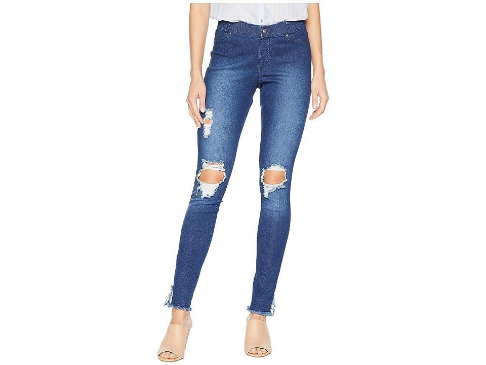 HUE Ripped Ankle Slit Denim Leggings (Dark Denim Wash) Women