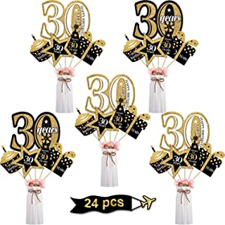 Blulu 30th Birthday Party Decoration Set 30th Golden Birthday Party Centerpiece Sticks Glitter Table Toppers Party Supplies, 24 Pack (30th Birthday)