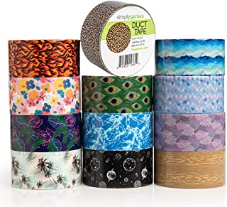 Simply Genius (12 Pack) Patterned and Colored Duct Tape Variety Pack Tape Rolls Craft Supplies for Kids Adults Patterned Duct Tape Colors, Nature Patterns
