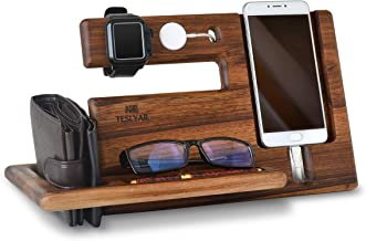 Natural Walnut Wood Phone Docking Station Key Holder Wallet Stand Magnetic Watch Charger Slot Organizer Men Gift Husband Wife Anniversary Dad Birthday Nightstand Tablet Father Graduation Travel Idea