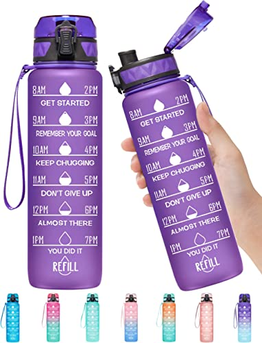 Elvira 32oz Motivational Fitness Sports Water Bottle with Time Marker & Removable Strainer,Fast Flow,Flip Top Leakpro...