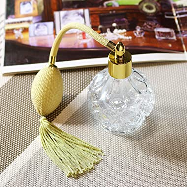 H&D Charming Clear Checked Carved Glass Empty Refillable Perfume Bottle with Spray Atomizer