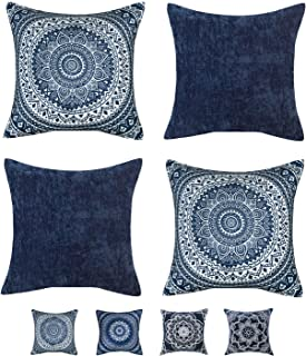 HPUK Set of 4 Boho Throw Pillow Covers Mandala Pattern 1 Cushion Cover for Couch Sofa Living Room, 18x18 inch, Navy