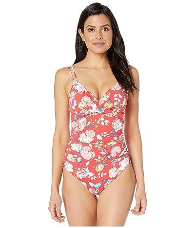 LAUREN Ralph Lauren Bright Floral Lingerie Strap Underwire One-Piece Swimsuit (Red) Women