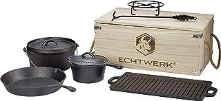 Echtwerk juego de Dutch Oven en caja de madera, 7 piezaz, curado, cacerola, plancha para asar, sartén, levantador de tapa, pasavasos