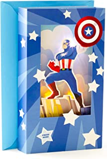 Hallmark Fathers Day Greeting Card With Song and Light (Marvel Captain America 3D Shadowbox,