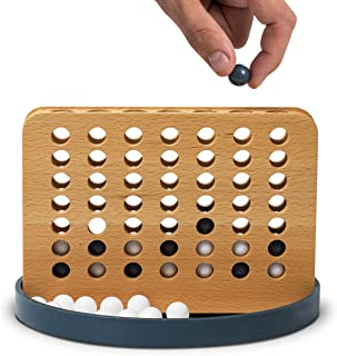 Wembley Portable Wood 4 in a Row Game, Indoor/Outdoor Family and Travel Friendly Toy, Fun for All Ages, Connect Four Pieces to Win, 42 Playing Pieces, Best Classic Toy