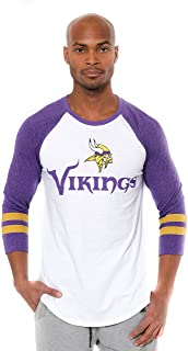 Ultra Game NFL Men`s T Raglan Baseball 3/4 Long Sleeve Tee Shirt