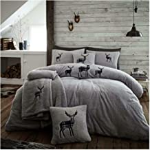 Lions Teddy Fleece Duvet Cover with Pillowcase Fluffy Warm Soft Thermal Quilt Bedding Set (Silver, Single)