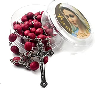 Rose smell Rosary Petal Red Rare Carved Beads & Silver Plated cross (Holy Land)