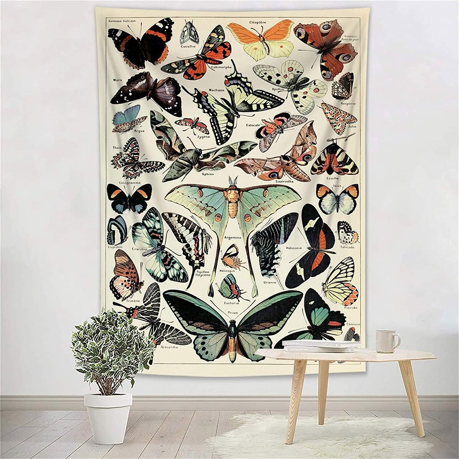 ECOTOB Retro Butterfly Tapestry Colorful Various Butterflies Vintage Beige Tapestry Wall Hanging Blanket Rustic Farmhouse Insect Tapestries for Bedroom Living Room College Dorm Decor, 40Wx60H inch