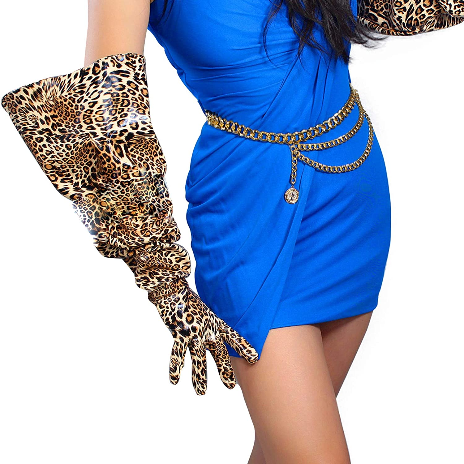 DooWay Super Long Leather Gloves Unisex Shiny Look Wide Opening Large Puff Sleeves Costumes Opera Party 28inches