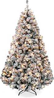 Best Choice Products 7.5ft Pre-Lit Snow Flocked Artificial Christmas Pine Tree Holiday Decor w/ 550 Warm White Lights