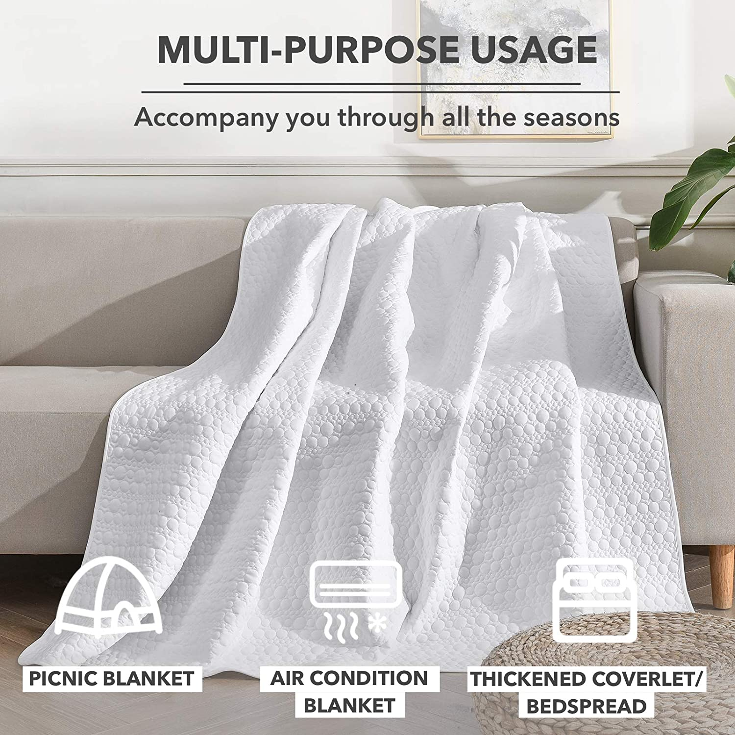 90x90 Inch Litanika Grey Quilt Set Queen Size Dot Stitched Coverlet Bedspread Bedding Set 3 Pieces All Season Lightweight Microfiber Down Alternative Quilted Blanket 1 Quilt, 2 Pillowcases