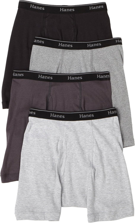 Hanes Classics Men's Boxer Briefs with Comfort Flex® Waistband, Black/grey 4-Pack, M-Black/Grey