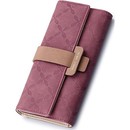 PAULO SERINI® Geldbörse Damen - Portemonnaie Damen 100% veganes Leder - Geldbeutel für Frauen groß mit 9 Kartenfächern Frauen - Women Wallet Cherry Red - rot