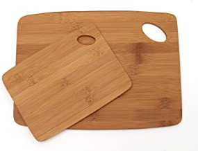 Lipper International 859 Bamboo Wood Thin Kitchen Cutting Boards with Oval Hole in Corner, Set of 2 Boards, 6