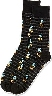 Van Heusen Men's Pair of Socks Pineapples, Black, One Size