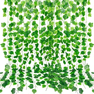 Luyue 12 Pack 86ft Artificial Greenery Garland Vine Fake Ivy Hanging Plant Leaves Faux Green Wall Decor Home Kitchen Indoo...