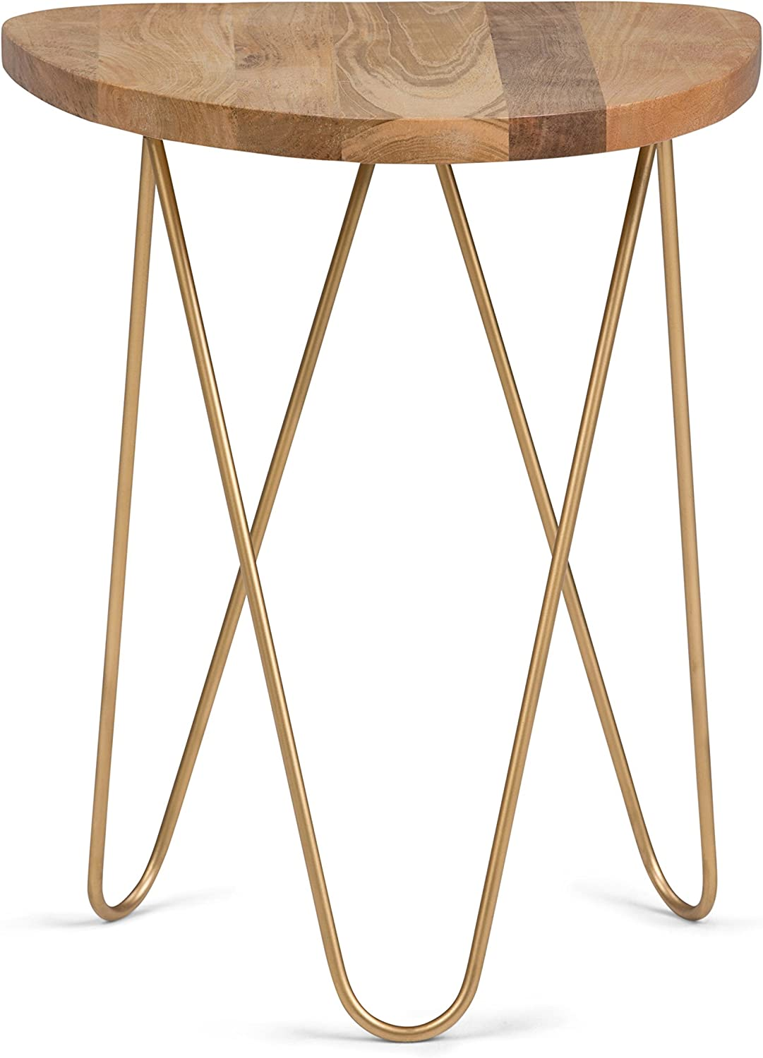 Simpli Home Patrice Metal Wood Accent Table, Natural and gold