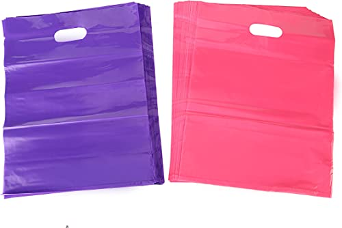 Kivvo 200 Merchandise Plastic Bags 12x15, Pink and Purple Cute Retail Shopping Bags with Die Cut Handle