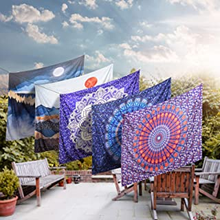 ZAMAT Mandala Tapestry, HD Print Indian Hippie Wall Tapestry, Bohemian Tapestry Wall Hanging with Hangers and Nails, Floral Wall Blanket for Living Room Bedroom Dorm Room Decor