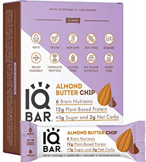 IQBAR Brain and Body Keto Protein Bars - Almond Butter Chip Keto Bars - 12-Count Energy Bars - Low Carb Protein Bars - Hig...
