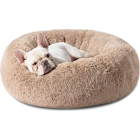 Bedsure Calming Dog Beds for Small Medium Large Dogs - Round Donut Washable Dog Bed, Anti-Slip Faux Fur Fluffy Donut Cuddler Anxiety Cat Bed, Fits up to 15-100 lbs