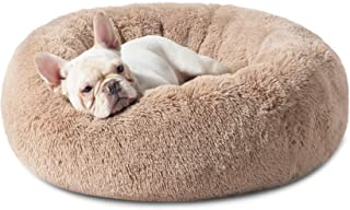 Bedsure Calming Dog Beds for Small Medium Large Dogs - Round Donut Washable Dog Bed, Anti-Slip Faux Fur Fluffy Donut Cuddl...