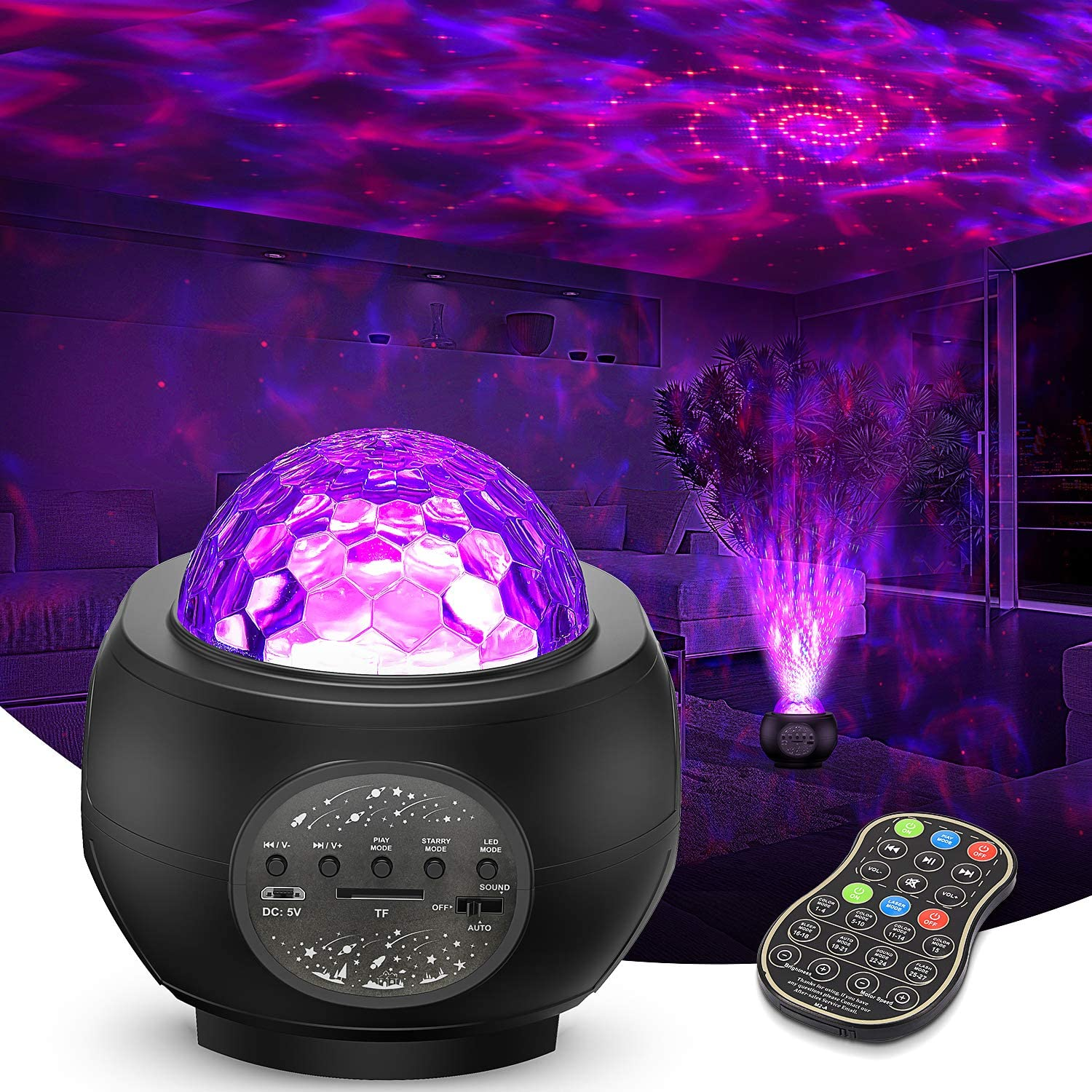 Rotating Ocean Wave Star Light Projector Bedroom Christmas Wedding Tesoky Star Projector Night Light for Kids Galaxy Light Projector with Remote Control and Bluetooth Music Speaker