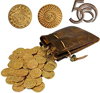 50 D&D Fantasy Metal Gold Coins & Leather Pouch for Dungeons & Dragons Novelty Tabletop RPG Board Games Tokens Treasure Co...