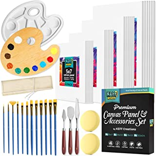 KEFF Creations Canvas Panels Set with Painting Supplies Kit | Art Supplies Set Includes Multi-Pack, Pre-Primed Art Canvase...