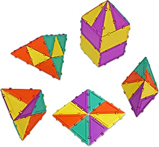 Geometiles 3D Building Set for Learning Math, Includes Many Online Activities,32-pc, Made in USA (Triangle/Rectangle)